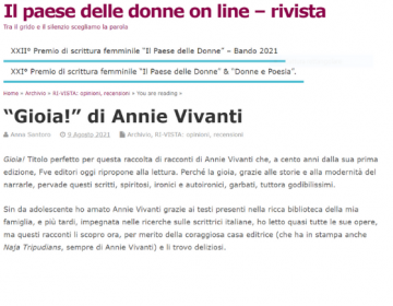Rassegna stampa Gioia! - Il paese delle donne on line 9 08 21