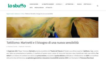 Rassegna stampa Tattilismo (schermata) - Lo Sbuffo - 18.03.21